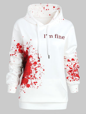 Novelty Plus Size I'M FINE Letter Print Inspired Splatter Halloween Hoodie Blood Hoodies Sweatshirts Women Jumper Pullover