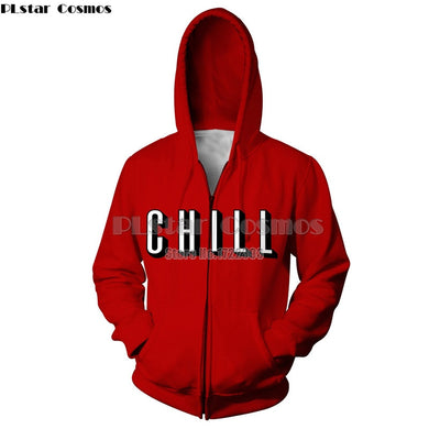PLstar Cosmos Womens Mens Chill Red Hoodie Zipper Hoodies Women Men 3d Print Hoodie Zip Up Jacket Sweatshirt Unisex Clothes