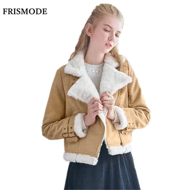 Women Winter Thick Warm Suede Lamb Fur Jacket 2017 New Fashion Long Sleeve Pink light tan Double-faced Fur Short Jacket Coat