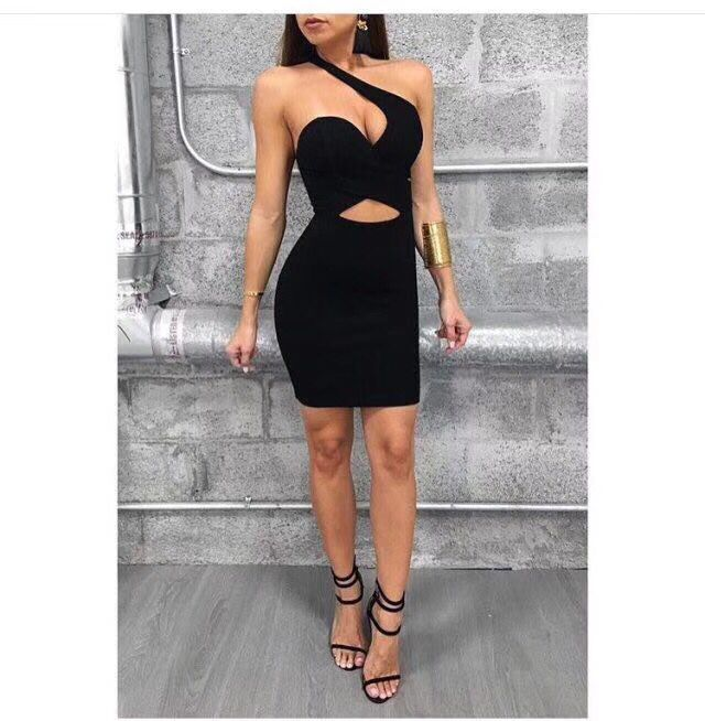 High Quality Sexy Off The Shoulder Black Fashion Rayon Cute Bandage Dress Evening Party Dress