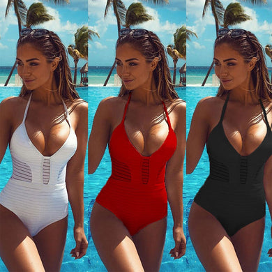 2017 sexy women one piece swimwear women swimsuit bandage bikini monokini bathing suit bather maillot de bain black red white