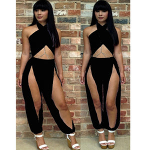 Fashion Two Pieces Set Women Clothing Bandage Sexy Crop Tops and High Waist Split Pants Sexy Clubwear Party Sets Summer M3651