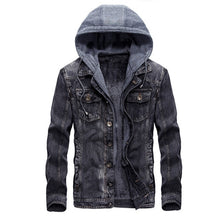 Load image into Gallery viewer, Fashion Mens Warm Denim Jackets Hooded Fleece Lined Jeans Jacket Detachable Coats
