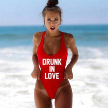 Load image into Gallery viewer, DRUNK IN LOVE Letter Print 1 One Piece Swimsuit Women Red Swimwear Monokini Sexy Bodysuit Bathing Suit Wedding bathing suit 2018