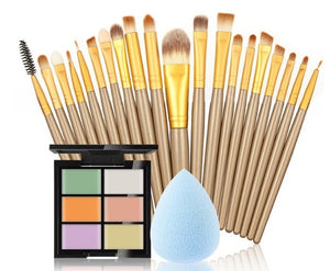 makeup brushes Set 6 Colors Concealer Palette maquiagem Puff 20 brushes Face Contour Cosmetic Make Up Tools Brushes for make-up