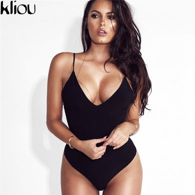 Kliou 2017 Summer 95% Cotton Women Bodysuit Top Sexy Romper Club Jumpsuits Solid Lady combinaison short crop top black white