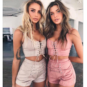 New Casual Straps Crop Top And Lace Up Short Pants Women Two Piece Set Fashion Women Suede 2 Pcs Set Clothing Wholesale YS-185