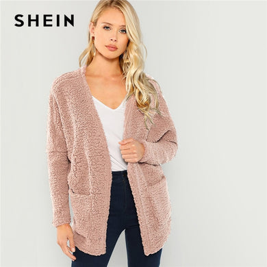SHEIN Pink Patch Pocket Open-Front Teddy Coat Plain Long Sleeve Outerwear 2018 Modern Lady Winter Faux Fur Coat Women Coats