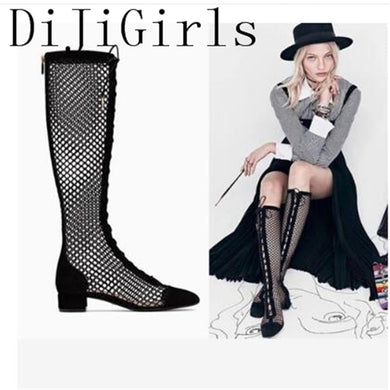 DiJiGirls Women Sandals Pointed Toe Street Fashion Hollow air Mesh Square Square Med Heel Party Lace up knee-high Summer Boots