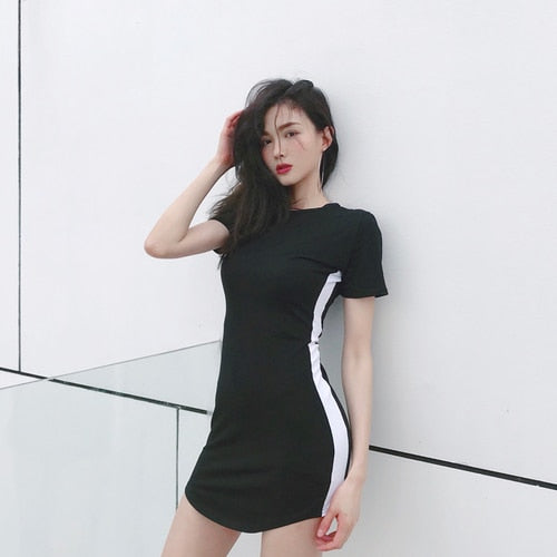 Lychee Girls Sexy Slim Hit Color Short Sleeve Summer Women Dress Contrast Color Sheath Dress Causal A Line Dress Female