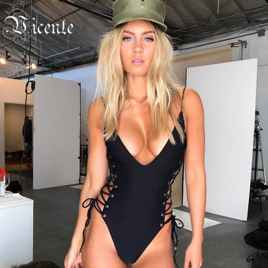 Vicente HOT 2019 New Summer Fashion Sexy Vneck Side Cross Criss Lace Up Women Bandage Bodysuit Women Bandage Bathsuit