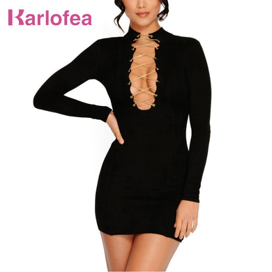 Karlofea New Women Sexy Long Sleeve Dresses V Neck Chain Suede Dress Hign Quality Birthday Party Spring Club Black Mini Dress