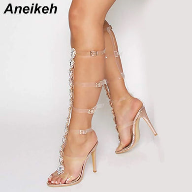 Aneikeh Plus Shoes Size 41 42 Sexy Gladiator knee High Transparent Buckle Sandals Fashion Crystal Flower High Heel Women Sandal
