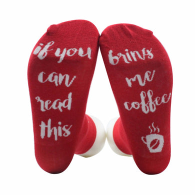 AOWOFS red coffee socks If You can read this Bring Me a Glass of Wine Socks autumn spring fall 2017 new arrival funny socks
