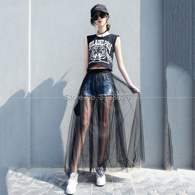 2019 Lace Girl Summer Long Lace Skirt Women Black White Mesh Voile Casual Skirts low Waist Bohemian Sexy Transparent Maxi wear