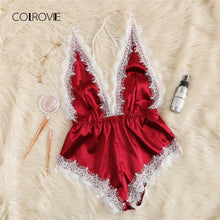 Load image into Gallery viewer, COLROVIE Burgundy Criss Cross Lace Trim Romper Bodysuit Women Teddy Strap Playsuit Womens Clothing Backless Sexy Bodysuit