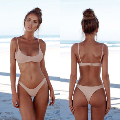 Summer Women Solid Bikini Set Push-up UnPadded Bra Swimsuit Swimwear Triangle Bather Suit Swimming Suit biquini