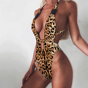 Sexy One Piece Women Swimsuit Bathing Suit Bandage Leopard Beach Swim Wear Swimwear Swimming Suit For Women Bikini Badpak 2019