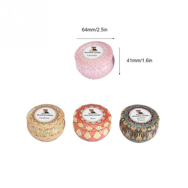 4PCS/Set Portable Scented Candles Rose Jasmine Lavender Gardenia Tin Candle  Gift Wedding Birthday Candlestick Home Decoration