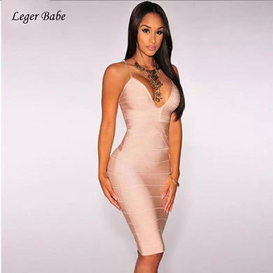 Leger Babe Red Bandage Dress For Women 2019 Sexy Bodycon Plunge Sleeveless Vestidos Elastic Knitted Cocktail Party Dress Summer