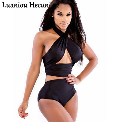 Chu Ni Sexy Bikini Women Halter Neck Cross Top Backless Push Up Bikinis High Waist Bathing Suit Rompers Bodysuit Jumpsuit LW24