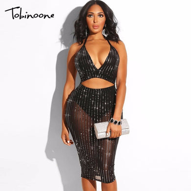 Tobinoone Mini Prom Party Dress Women Spaghetti Straps V Neck Bodycon Dress Above Knee Length Sequin Dresses 2018 New Arrival