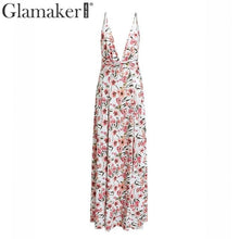 Load image into Gallery viewer, Glamaker Floral print v neck plus size maxi dress Women bodycon high split vintage dress Summer long beach elegant sexy dress