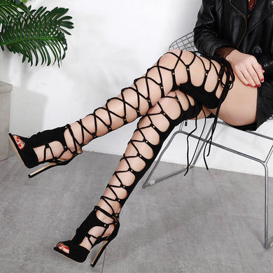 Jookrrix 2019 Women's Summer Girl Shoes Fashion Over the Knee Women Gladiator Sandals Sexy Lady Cross Tied High Top Cross-tied