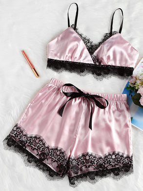 Sexy Satin Lace  Bra+Shorts Sleepwear Nightwear Pajamas Comfy Lingerie Set