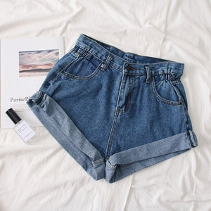 Summer women Pleat curling shorts denim hot shorts female denim casual shorts High waist wide leg denim shorts for women 2019