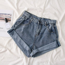 Load image into Gallery viewer, Summer women Pleat curling shorts denim hot shorts female denim casual shorts High waist wide leg denim shorts for women 2019