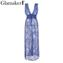Load image into Gallery viewer, Glamaker Black lace transparent high split party dress Women summer dress 2018 backless long dress Femme elegant maxi sexy dress