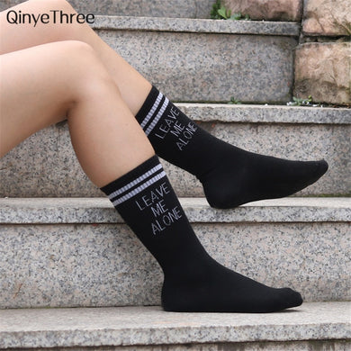Women Soft Cotton Striped Printed socks Summer Modern Street Hip-hop Cool Skateboard Sokken with humor words LEAVE ME ALONE