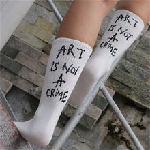 Load image into Gallery viewer, Women Soft Cotton Striped Printed socks Summer Modern Street Hip-hop Cool Skateboard Sokken with humor words LEAVE ME ALONE