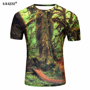 2019 New Arrivals Mens 3d T-shirt Print Winter Forest Trees Quick Dry Summer Tops Tees Brand Tshirts Plus Size