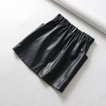 Load image into Gallery viewer, Yuuyiwa Women's double pocket elastic waist PU Faux leather skirt A-Line Above Knee Mini Women Skirts Jupe Femme Faldas Mujer