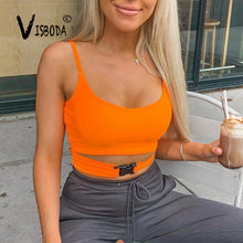 Load image into Gallery viewer, Women Sexy Camisole Neon Green Halter Cropped Top Fashion Camis Vest 2019 Summer Female Bandage Tank Top Bralette Top Femme