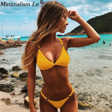 Women Sexy Solid Bikini Set Low Waist Brazilian Bathing Suit Swimwear Summer Swimsuit Female Yellow Beach Wear Biquini