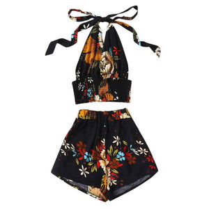Halter Floral new print 2 two piece set top and pants women Blouse Pullover Tops + Shorts Pants Set Suitensemble femme #G7