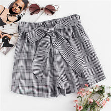 Load image into Gallery viewer, Sheinside Self Tie Waist Plaid Shorts Summer Mid Waist Straight Leg Shorts Women Elastic Waist Office Ladies Elegant Shorts