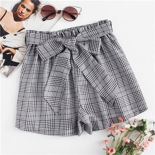 Sheinside Self Tie Waist Plaid Shorts Summer Mid Waist Straight Leg Shorts Women Elastic Waist Office Ladies Elegant Shorts