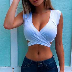 2019 Sexy Criss Cross Dark V Neck Camisole Tank Tops Women Summer Basic Sleeveless Tight Crop Top Streetwear Cropped Tees Camis