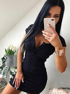 Cotton Dress 2019 Summer Autumn Women Casual Knit Sheath Mini Dress Ladies Solid V-Neck Chest Button Short Sleeve Bodycon Dress