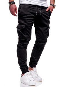 Men'S 2019 New Brand Tether Elastic Sports Trousers Long Paragraph Casual Pants Classic Three-Dimensional Patch Pocket