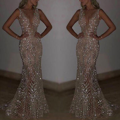 Womens Sequins V-neck Dress Long Evening Party Formal Wedding Ball Prom Gown