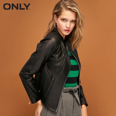 ONLY  Women's High-low Stand-up Collar Zip Slim Fit Short Leather Jacket |118310515