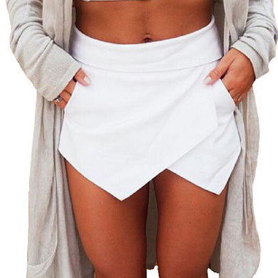 Women's Summer Sexy Casual Asymmetrical Front Candy Color Tulip High Waist Skort Shorts Plus Size