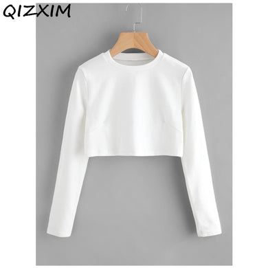 2019 White Hoody Sweatshirts Hoodies Casual Cotton Girl Women Ladies plain solid color Sweatshirts Long Sleeve Crew Neck Tops