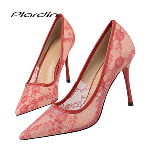 Plardin New Lace Thin Heel Pumps women shoes high heel Shallow Embroider Woman Sexy Party Wedding Ladies Shoes woman shoes