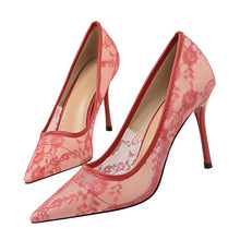 Load image into Gallery viewer, Plardin New Lace Thin Heel Pumps women shoes high heel Shallow Embroider Woman Sexy Party Wedding Ladies Shoes woman shoes